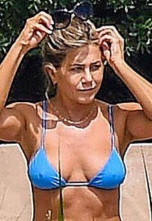 Jennifer Aniston in blue bikini in Portofino