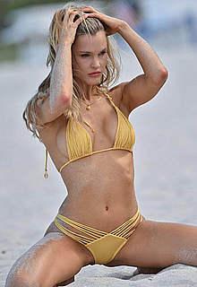 Joy Corrigan in yellow bikini photoshoot