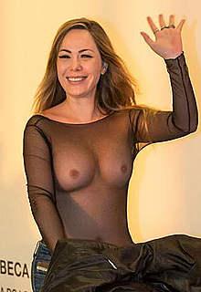Ju Isen nude boobs under see through top
