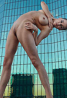 Nina Burri doing yoga fully nude photoshoot